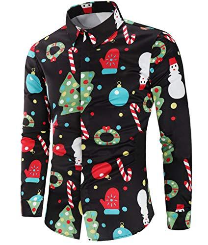 CHyaog Herren Hemd Weihnachten Weihnachtshemd Thema 3D Digitaldruck Knöpfbar Langarm Freizeit Xmas Bluse Shirt (A_Schwarz, Large)