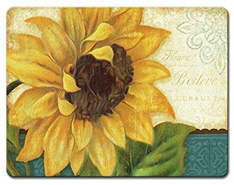 Sunshiny Day Bright Yellow Sunflower Tempered Glass Large 15 Inch Cutting Board by Highland Graphics