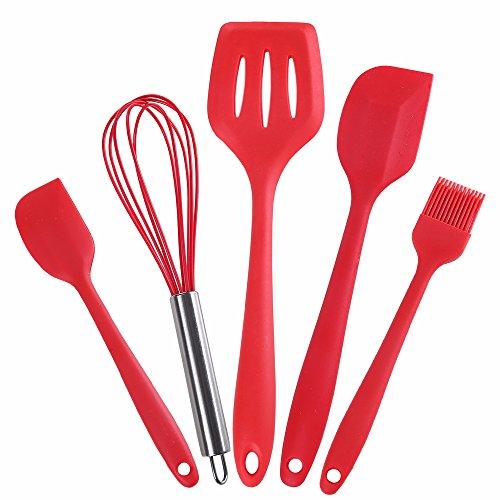 ZXY - Juego de utensilios de cocina de gel de sílice de grado alimenticio, 5 piezas, antiadherente, para fregadero, barrido, pala plana, batidor de huevos