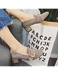 Grueso con la Cabeza Cuadrada con un Solo Calzado Mujeres Sienten cm Hebilla Cuadrada Todos Los Zapatos de Partido...