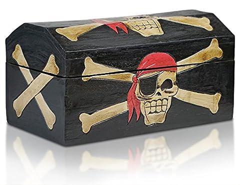 Thunderdog Piratentruhe Jack L - Schatztruhe 39x21x20 cm aus Holz, Truhe bzw. Aufbewarungsbox für Kinder