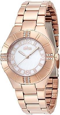 Lotus 0 - Reloj de cuarzo para mujer, con correa de acero inoxidable, color dorado de Lotus
