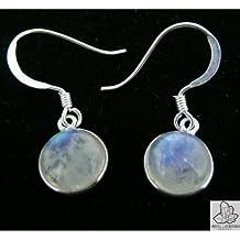 Pendientes pequeños de plata cabujón forma redondeada de Piedra Luna.
