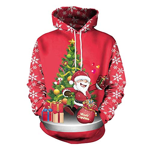 KEERADS Herren 3D Druck Kapuzenpullover Hoodie Pullover Sweatjacke Sweatshirt Weihnachten Halloween - Red Hoodie Weihnachten Kostüm