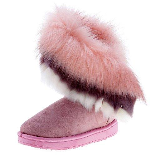 Fortuning's JDS Inverno caldo falso della pelliccia di Volpe nappa corta doposci della ragazza delle (Gomma Da Masticare Rosa Pelle)