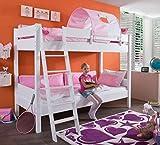 Froschkönig24 Etagenbett Stefan Hochbett Stockbett Kinderzimmer Weiß Stoffset Rosa/Weiß, Matratzen Oben/unten:mit 2X Matratze
