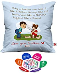 Indigifts Bro Like Father Quote Printed Blue Quirky Square Cushion Cover 12X12 With Filler (Blue- White)