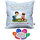 Indigifts Indibni Square Bro Like Father Quote Printed Blue Quirky Cushion Cover 12X12 With Filler (Blue- White)