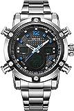 Weide Herren Sport Military Analog Digital Quarz Edelstahl Armbanduhr mit Dual Time Auto Datum (blau)