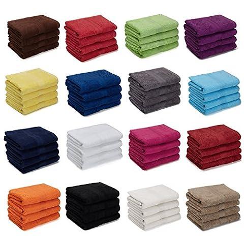 4er Pack zum Sparpreis, Frottier Handtuch-Serie - in 7 Größen und 16 Farben 100% Baumwolle 500 g/m², 4er Pack Handtücher (50x100 cm) in