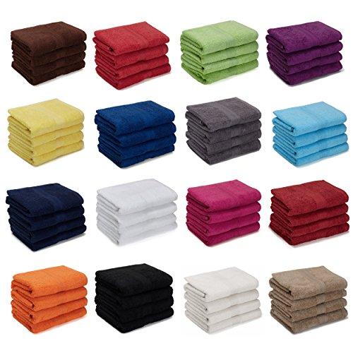 AR Line 4er Pack zum Sparpreis, Frottier Handtuch-Serie - in 7 Größen und 16 Farben 100% Baumwolle 500 g/m², 4er Pack Handtücher (50x100 cm) in Schokobraun