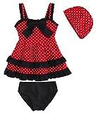Happy Cherry Mädchen Kinder Bade-Set (Kleid, Slip und Badekappe) Schwimmbekleidung Zweiteiliger Badeanzug Swim Set With Bathing Hat Größe 9 für Körpergröße: 110-120cm - Gepunktet Rot