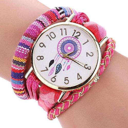 Sannysis Dreamcatcher Amistad Pulsera Relojes vestido de las mujeres del reloj de la trenza (Rosa)