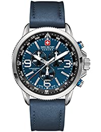 Swiss Military Men's Quartz Watch with Blue Dial Chronograph Display and Blue Leather Strap 6-4224.04.003