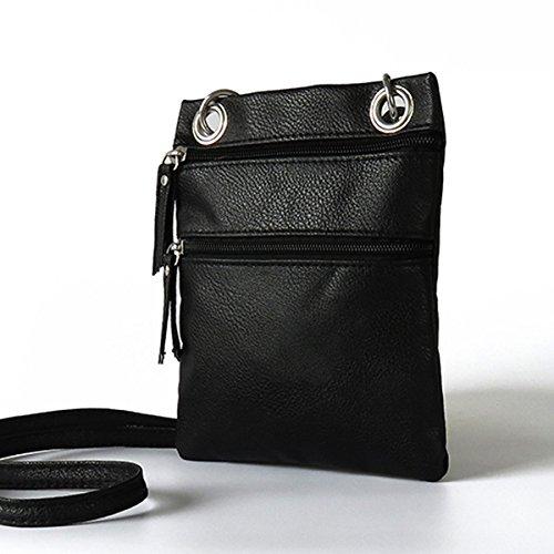 Mefly La Sig.Ra Croce Obliqua Bag Pu Piccola Croce Obliqua Borsa Multicolore Zero Portamonete Bianco Luce black