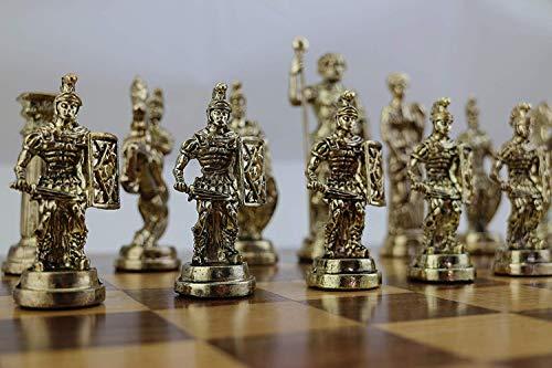 GiftHome (sólo Piezas de ajedrez Históricas Hechas a Mano Figuras de Roma Piezas de ajedrez de Metal tamaño Grande King 4.3 Inc (Tabla no está incluida)