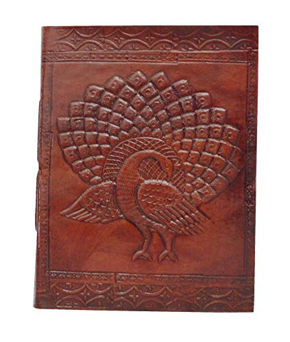 Zap Impex Handgefertigtes Echtleder-Album, geprägtes Pfau-Fotoalbum, Galerie-Album, Leder-Tagebuch-Album Handgefertigt in Indien (7 x 5) Zoll (Leder-album 5x7)