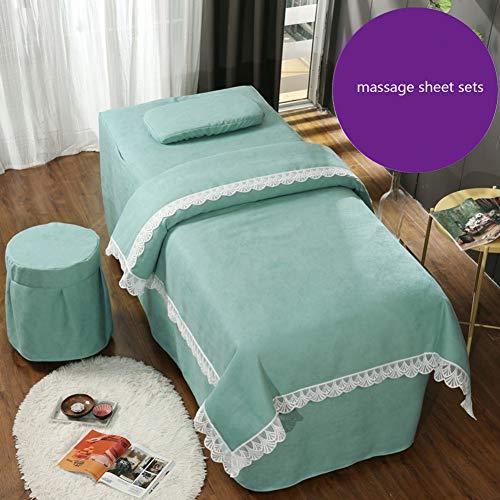 ynh Massage Tisch Sheet Sets Bettdecke In Spitze Nähte,weiche Baumwolle Reine Farbe Beauty-Bett-Abdeckung Atmungsaktive Salon Spa Bettwäsche 4 Stück-b 180x60cm(71x24inch) -