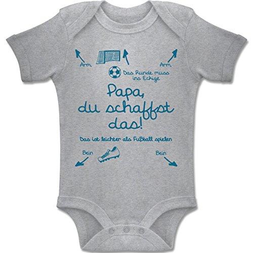 Shirtracer Strampler Motive - Papa Du Schaffst Das Fußball Junge - 3-6 Monate - Grau Meliert - BZ10 - Baby Body Kurzarm Jungen Mädchen (Beste Kleidung)