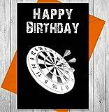 Geburtstagskarte Dart Board–Einzigartige Kreidetafel Effekt Grußkarte
