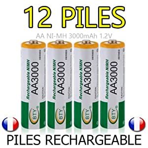 lot 12 piles accus rechargeable aa bty ni mh 3000mah 1 2v lr06 lr6 r06 r6 accu high tech. Black Bedroom Furniture Sets. Home Design Ideas