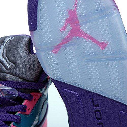 Nike Air Jordan 5 Retro Gg, Chaussures de Running Compétition Fille, Vert Vert / blanc / rose / brun (bleu canard tropical / blanc - rose digital - violet terrain)