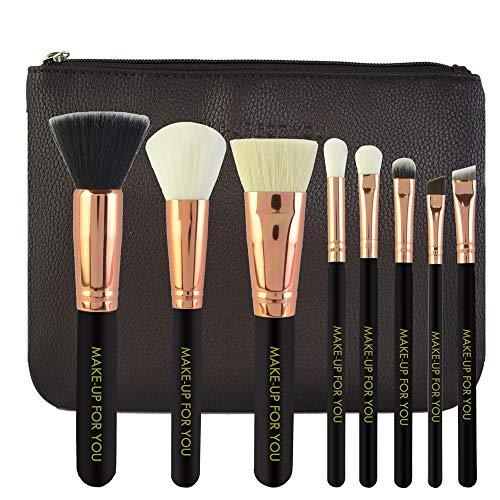DaySing Brosse Kit De Pinceau Maquillage Professionnel8Pcs Maquillage CosméTique Pinceau Fard à Joues Fard à PaupièRes Kit Set Pinceau à LèVre avec Sac Nois