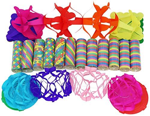 com-four® 14-teiliges Party Deko Set mit Luftschlangen und Girlanden für z.B. Geburtstage oder Silvester (14-teilig - Mix)