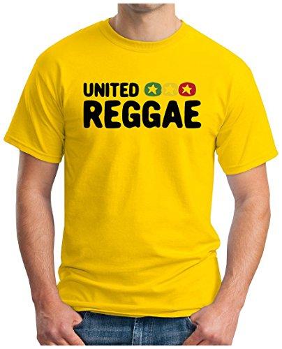 OM3 - UNITED REGGAE - T-Shirt ROOTS RAGGA RASTA MUSIC SKA DOPE KUSH SWAG THC, S - 5XL Gelb