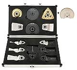 Koffer mit Set aus 14Klingen von Saxton für Fein Multimaster Bosch Makita Multitool (inkl. 90-mm-Diamant)