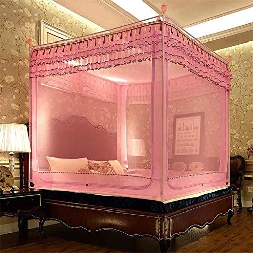 Rosa Moskitonetz für Bett Queen Size, quadratischen Baldachin Bett Vorhang für Mädchen & Erwachsene, 3 Tür Insektennetz, Prinzessin Schlafzimmer Dekoration (größe : 1.8m (6 ft) Bed) (Rosa Twin-bett Für Mädchen)