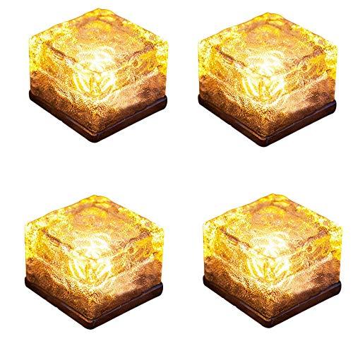 ZJRA Solar Pathway Light, Auto EIN/Aus, Ice Cube Rocks Farbe Crystal Underground Lamp Geschenk Glühend (4Er-Set), Warmes Gelb -