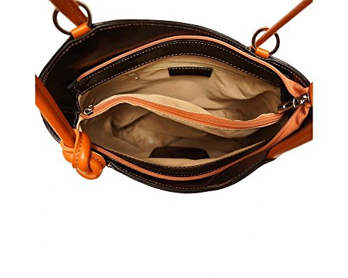 Florence Leather  207, Damen Schultertasche Brown & Dark Brown Schwarz/Hellbraun