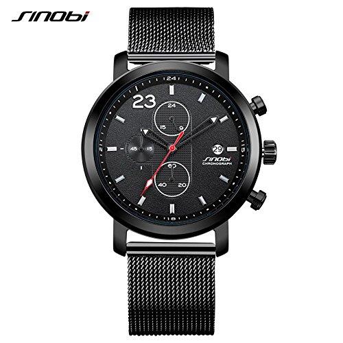 SINOBI 9765 Round Fashion Men\'s Watch Net Steel Strap