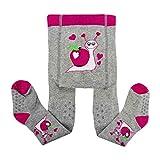 Esda by Galeja Baby ABS Krabbelstrumpfhose Farbe Pink/Hellgrau Gr. 86/92 Sohle und Knie weich gefüttert Jungenstrumpfhose Mädchen Strumpfhose