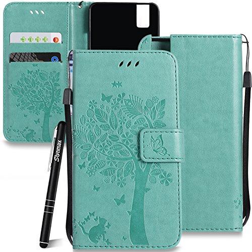 Schutzhülle für Huawei ShotX/Honor 7i Grün,Slynmax Katze Wallet Handyhülle für Huawei ShotX/Honor 7i Tasche Flip Brieftasche Lederhülle Handytasche Stand Kartenfächer Magnetverschluss Shell,Katze