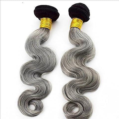 Meydlee AccessoriPosticci corpo Wave capelli trama con caldo argento grigio colore umano capelli sciolti onda capelli estensioni 3 pacchi/pacco , 12 14 16