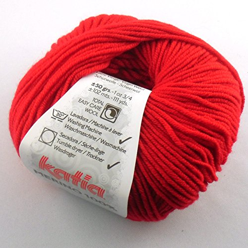Katia Merino 100% 004 fiery red 50g Wolle Wolle