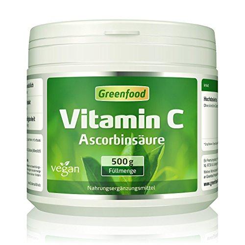 Vitamin C, 500 Gramm Pulver - für bärenstarke Abwehrkräfte, gesunde Zähne und Zahnfleisch, starkes Bindegewebe. Garantiert OHNE Gentechnik. Ohne künstliche Zusätze. Vegan.