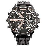 LasVogos Reloj de Pulsera Deportivo con Correa Grande de Acero Inoxidable con dial Grande de 2 Movimientos de Oulm para Hombre 3548