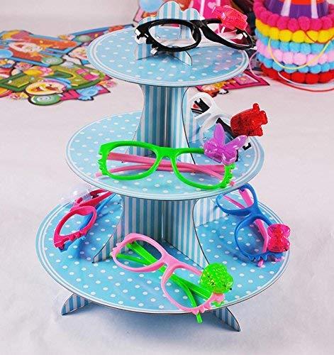 Hianiquaime 3 Etagen Cupcake Ständer aus Pappe Tortenstaender Muffin Ständer für Hochzeiten Geburtstag Halloween Weihnachten Party Blau (Etage 3 Halloween)