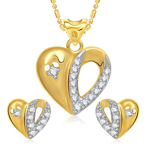 Vk Jewels Valentine Heart Collection Gold Brass Alloy Cz American Diamond Pendant Set for Women Vkps1097G