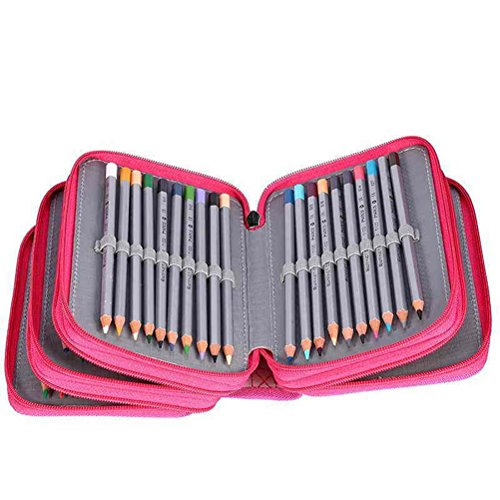 NUOLUX 72 Slots Pencil Holder Organizer 4-layer Colored Pencil Case Students Pen Pouch Bag Stationary Box with Zipper for Art School Office Travel (Rose Red)