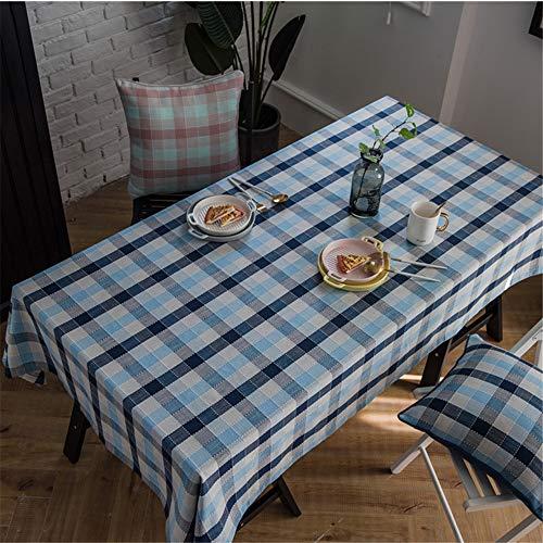 DHHY Polyester-Baumwolltischdecke Geometrisches Plaid gestreiftes wasserdichtes Kaffeetischtuch Weihnachtstagesdekorationstischdecke A 135x200cm / 53x79inch -