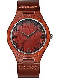 Asura para hombre (Unisex Reloj de pulsera de lujo de madera hecho a mano color marrón piel auténtica banda Vintage madera relojes luz peso viajes en Casual cuarzo analógico muñeca relojes para hombre