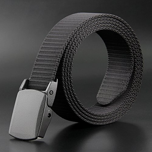 DS-HN Canvas belt men's no iron no magnetic non-metal plastic smooth tie belt through security checkpoints Zs-f9 sky black 115cm sky black 115