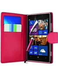 Connect Zone Nokia Lumia 930 Étui Housse Portefeuille + Protège Écran + Chiffon De Polissage & Double Paquet Écran Tactile Stylet - Rose