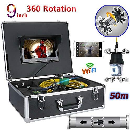 QSBY 9-Zoll-WiFi-Endoskopkamera Pipeline-Kamera Entwässerungsinspektion 38LED 360-Grad-Drehung CCD 800TVL Leitungslänge 50 m Ccd-farb-industrie-video-kamera