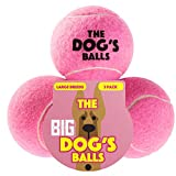 The Big Dog's Balls, 3 Large Pink Tennis Balls, Premium, Strong Dog Toy Ball for Dog Fetch & Play. Large Dogs Balls, Too Big for Chuckit Launchers, the King Kong of Dog Balls