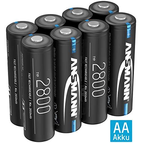 ANSMANN Akku AA Typ 2800mAh NiMH 1,2V - Mignon AA Batterien wiederaufladbar, hohe Kapazität ideal für hohen Strombedarf wie Taschenlampe, Controller, Kamera, Foto-Blitz, Modellbau (8 Stück)
